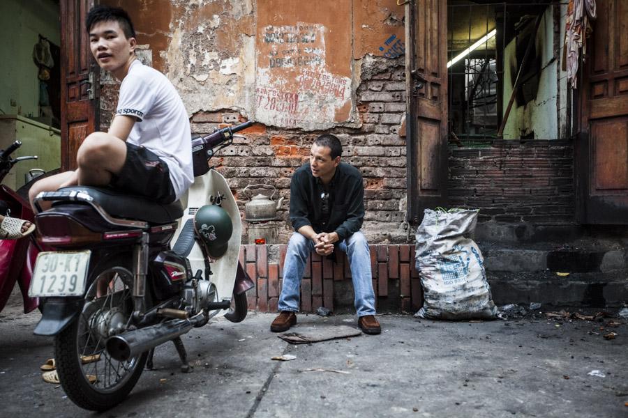 A portrait of restauranteur Bobby Chinn in downtown Hanoi, Vietnam.
