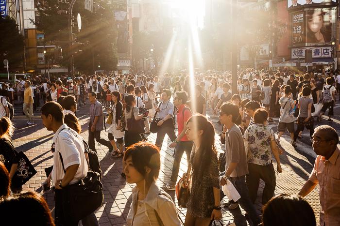 A crowded street scene in Tokyo, Japan.