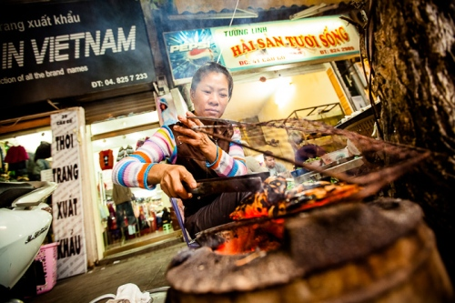 Grilled street food in Hanoi, Vietnam.