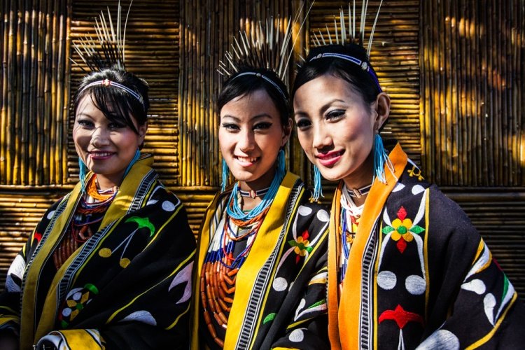 A portrait of three women from the Chakhesang tribe in Nagaland, India.