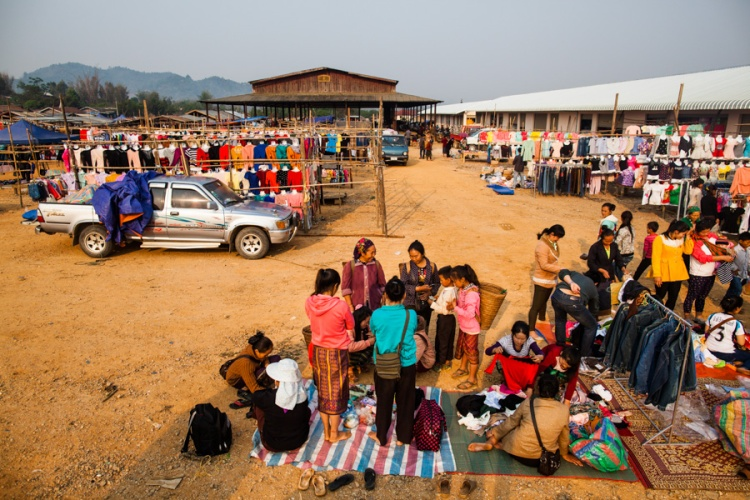 An early morning market in Khon Kahndone Village, Xieng Khouang province, Laos.