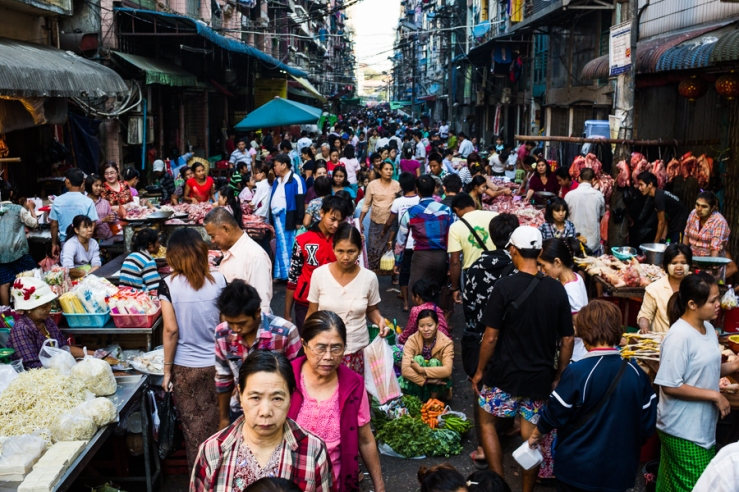 A crowded market in downtown Yangon, Myanmar.