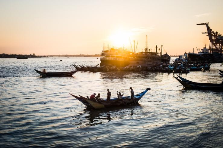 Sunset along the Yangon River in Yangon, Myanmar.