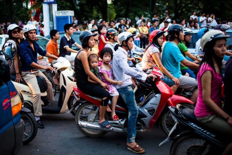 Traffic in Hanoi, Vietnam.