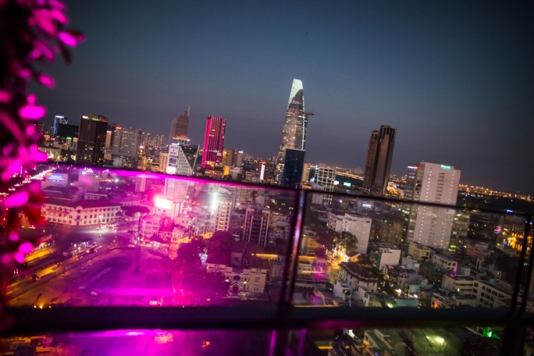 A dusk cityscape of Ho Chi Minh City, Vietnam from the Air 360 sky bar.