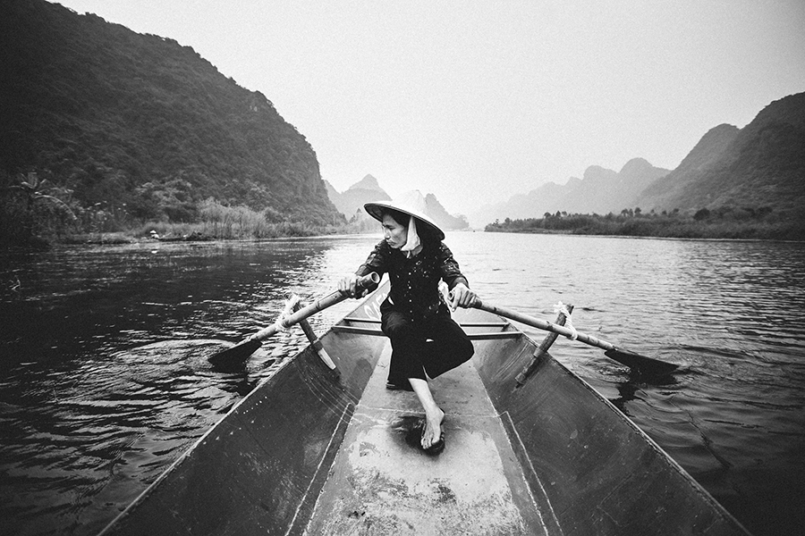 A boat ride on a river in Hanoi, Vietnam.