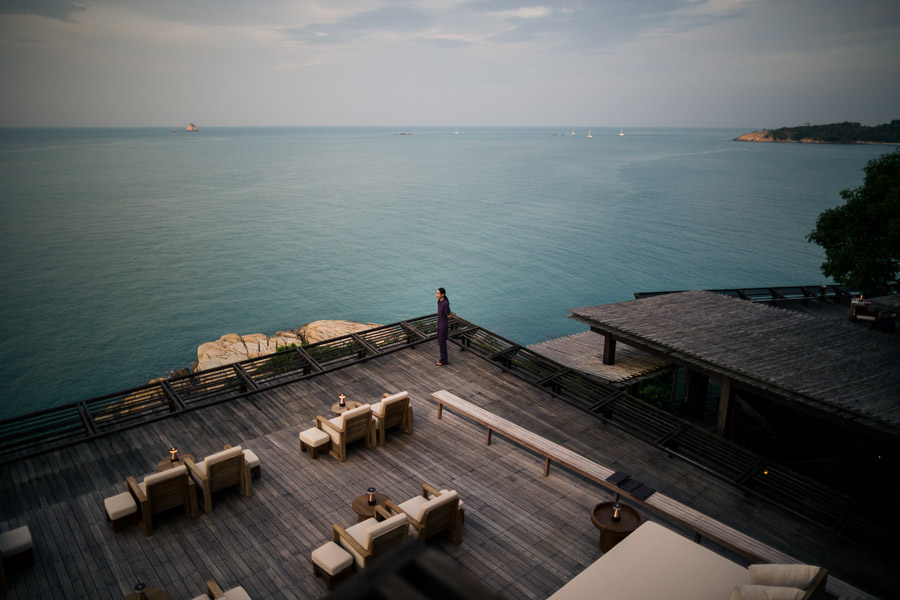 Overlooking the sea from the Six Senses Resort in Koh Samui, Thailand.