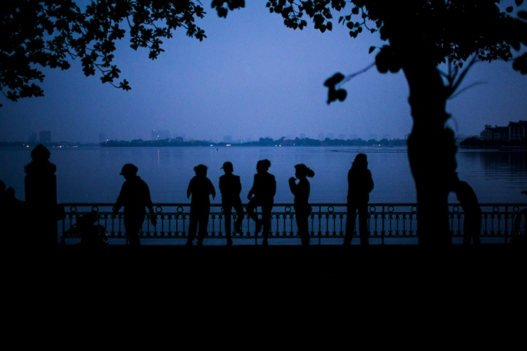 Early morning along West Lake in Hanoi, Vietnam.