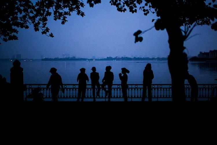 Early morning along West Lake in Hanoi, Vietnam.