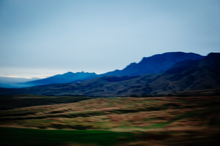 A blurry landscape in Kyushu, Japan.
