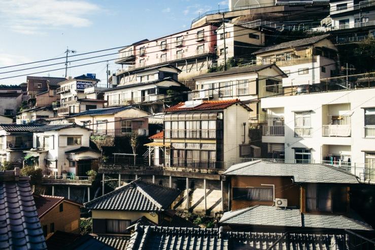 Buildings in Nagasaki, Japan.