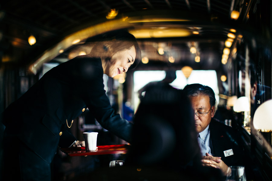 Lunchtime on board the Seven Stars Kyushu luxury train in Japan.
