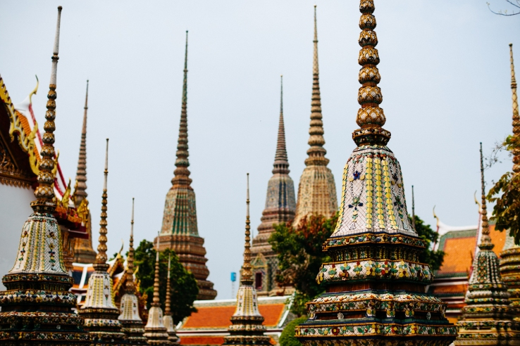 Spires inside the Wat Pho complex in Bangkok, Thailand.