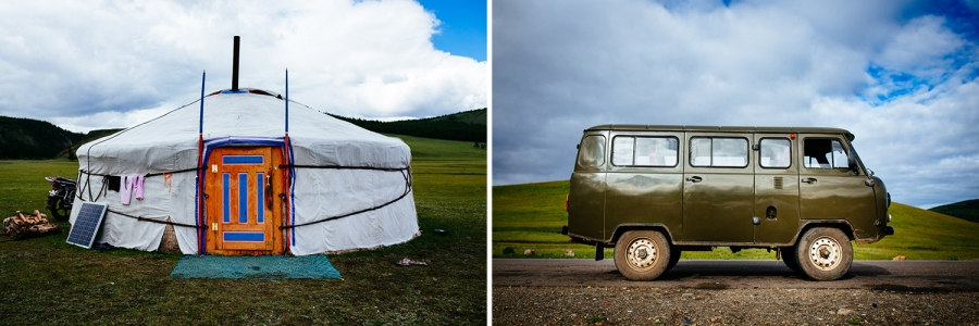 An old Russian van on the road in northern Mongolia.