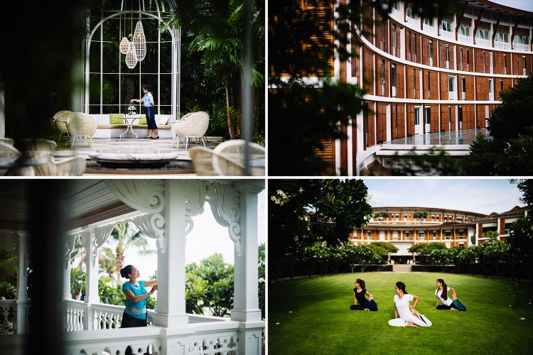 Yoga on the lawn of the Intercontinental Resort in Hua Hin, Thailand.