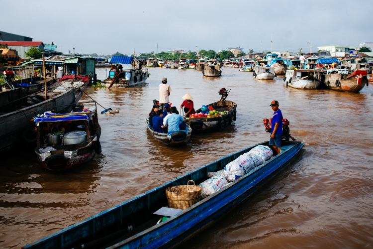 The Cai Rang floating market outside of Can Tho in southern Vietam.