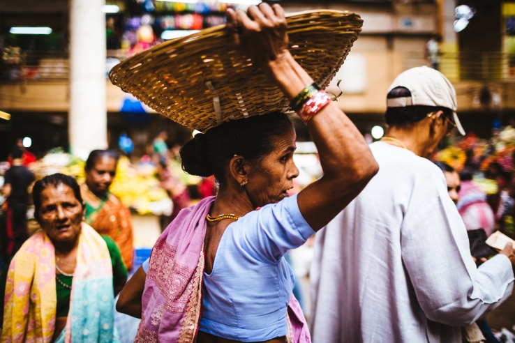 A woman at the local market in downtown Panjim, India.